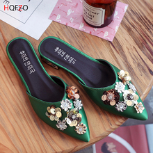 HQFZO 2019 new floral sequined mules shoes women bling crystal silk slippers pointed toe flats slides woman flip flops green