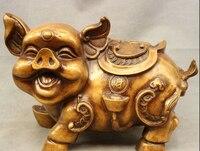 """16 """"Chiński Spiżowy Folk Dekoracji Statua YuanBao Wealth Szczęśliwy Fu Świnia Świń w Posągi i rzeźby od Dom i ogród na"""