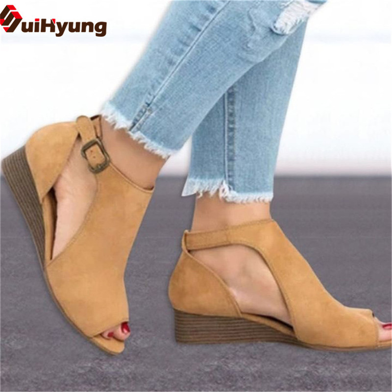 a9521c88bfb6b6 Suihyung 2019 Spring Summer New Women s Shoes Fashion Wedge Fish Mouth  Sandals Big Size35 43 Comfortable Casual Female Sandals -in Middle Heels  from Shoes ...