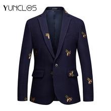 YUNCLOS пиджак с вышивкой для мужчин, для свадебной вечеринки, Тонкий Блейзер, высокое качество, повседневный мужской костюм, блейзеры, блейзер