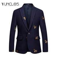 YUNCLOS Broderie Costume Veste Pour Hommes De Mariage Mince Blazers Haute Qualité décontracté homme Costume Blazers 2019 blazer masculin