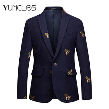 YUNCLOS Embroidery Suit Jacket For Men Wedding Party Slim Blazers High Quality Casual Mens  blazer masculin