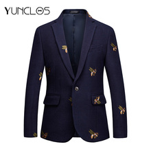 YUNCLOS Embroidery Suit Jacket For Men Wedding Party Slim Blazers High Quality C