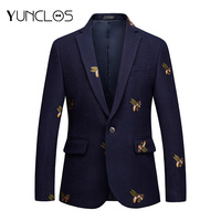 YUNCLOS Embroidery Suit Jacket For Men Wedding Party Slim Blazers High Quality Casual Men's Suit Blazers 2019 blazer masculin