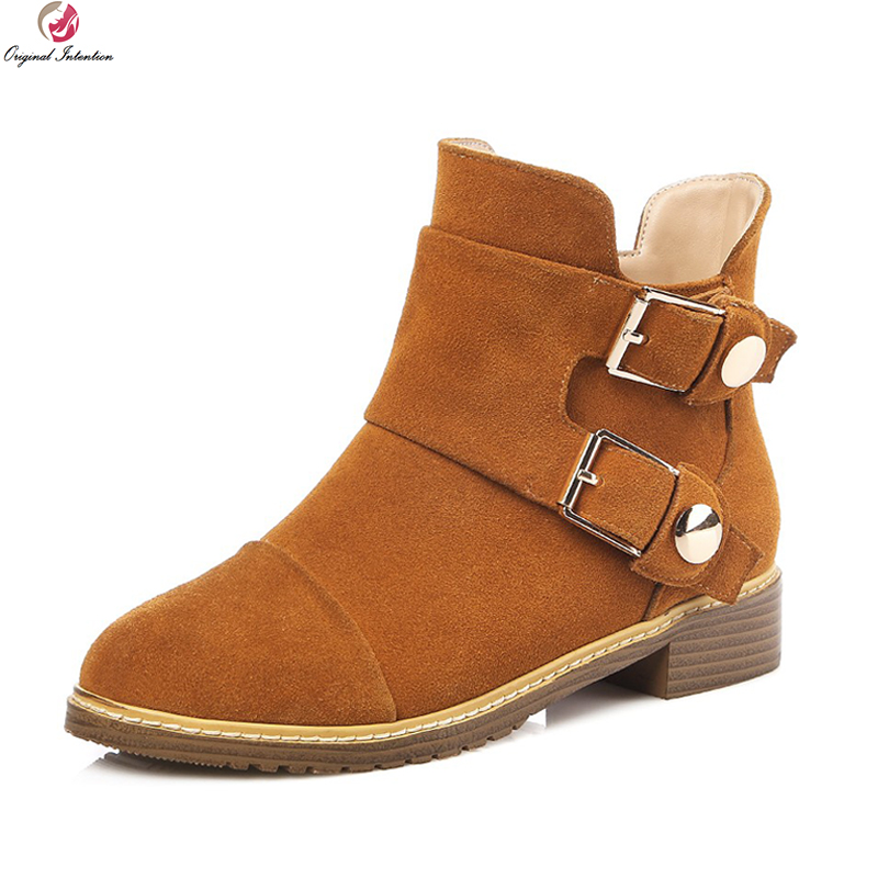 Original Intention High-quality Women Ankle Boots Round Toe Square Heels Boots Nubuck/ Soft Leather Shoes Woman US Size 4-13Original Intention High-quality Women Ankle Boots Round Toe Square Heels Boots Nubuck/ Soft Leather Shoes Woman US Size 4-13