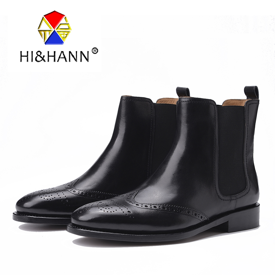 Goodyear Handmade Crafts Men Genuine Leather Boots Men Fashion Carved hole Mid-Calf Boot Size US 6-13 Free shipping