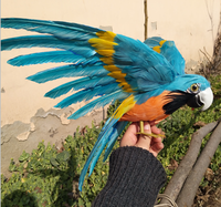 Köpük & renkli tüyler yapay papağan kuş büyük 30x45 cm wings yayılma papağan el sanatları, bahçe dekorasyon prop hediye a2573