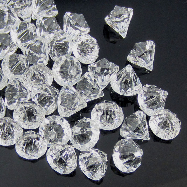 50pcs Clear acrylic diamond gems faceted beads table vase filler pirate acrylic diamond crystal in Party DIY Decorations 12.0mm
