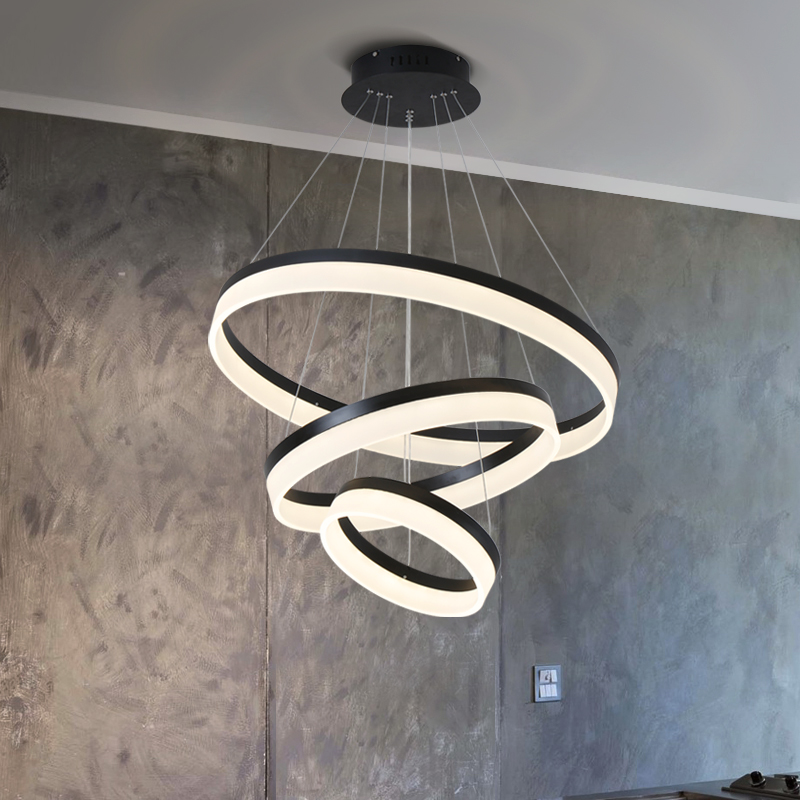 Modern LED living dining room pendant lights suspension luminaire suspendu circle rings pendant lamp fixtures de techo colgante modern led pendant lights for dining living room hanging circel rings acrylic suspension luminaire pendant lamp lighting lampen