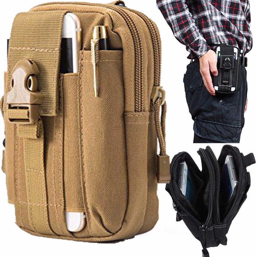 Outdoor Tactical Phone Pouch Holster Airsoft Molle Hip Waist Belt Clip Bag Wallet EDC Gadget Pouch Tool Dump Drop Bag Holder Tan gadget