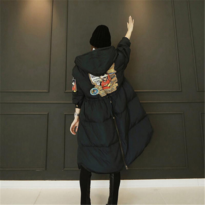 2018 autumn and winter new Korean women loose scarf cotton hooded thickened size code length Maxi coat jacket warm winter woman
