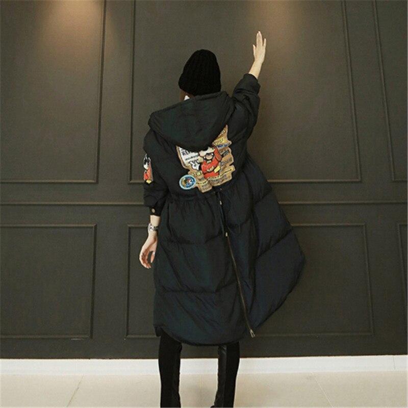 Coréennes Black Veste Et Femme À Taille Longueur Capuche Lâche Coton Nouvelles Femmes 2018 Manteau Code Épaissie Chaud Au Écharpe Automne D'hiver Maxi T1wqxn5gX