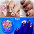 1 Box Mixed Round Nail Art Glitter Decoration Colorful Luminous Mini Mixed Thin Paillette Design Nail Tip Set