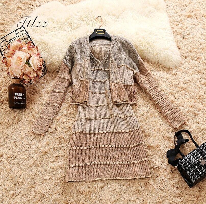 Hot Sale 2018 Autumn New Knitted Dress Two Piece Sets Women Short