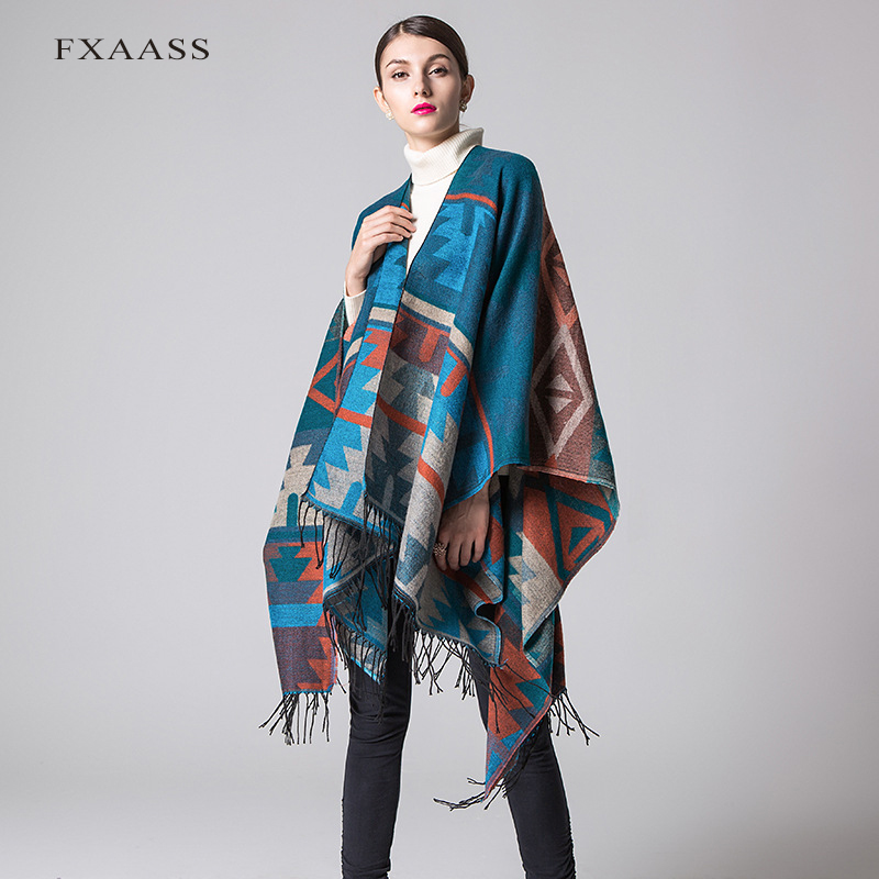 FXAASS New Autumn/Winter Shawl Fashion Indian Poncho Women Scarf Cloak Luxury Tassel Cashmere Scarves Warm Pashmina Wholesale