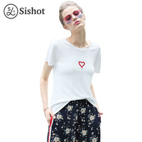 Sishot Women Tshirts 2017 Summer Brief T Shirt White Solid Letter Heart Shaped Embroidery Short Sleeve
