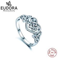 Eudora Real 925 Sterling Silver Ring Good Luck Celtics Love knot Ring Women Special Design Fashion  Wedding Bands Jewelry CYJ01 цена 2017