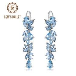 Gem's Ballet 19.66Ct Natuurlijke Sky Blue Topaz Oorbellen 925 Sterling Sliver Bladeren & Takken Drop Oorbellen Voor Vrouwen Fijne Sieraden