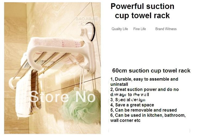 Free shipping Suction cup Shower towel Shelves towel bar towel rack shower caddy suction shower rack stainless steel