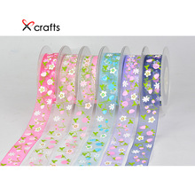PPCrafts 25mm Printed Cherry Design Organza Ribbon Lace Webbing DIY Gift Wrap Decoration Hair Bow Clothing Accessories