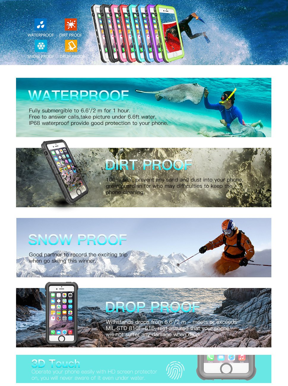 Redpepper Sealed Waterproof Case For iPhone 5 5S SE Shockproof case (1)