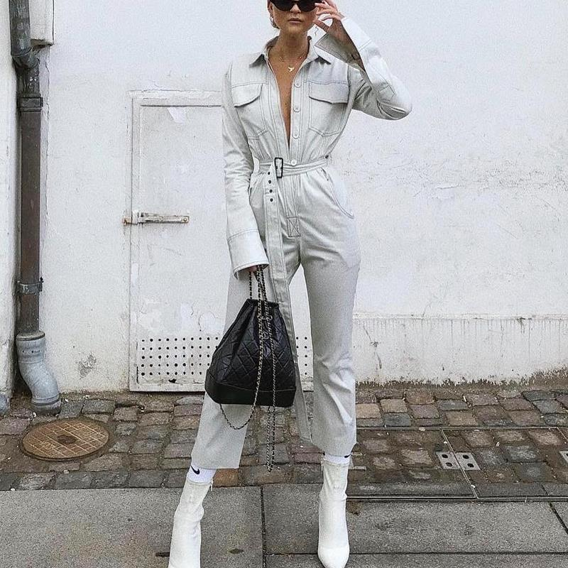 Autumn Winter Rompers Womens Jumpsuit Casual Vintage Pockets Sashes Long Sleeve Denim Jumpsuit Streetwear Overalls For Women