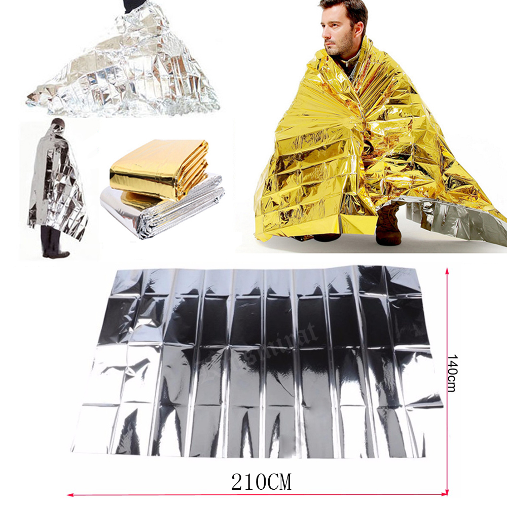 Emergency Blankets Foil Thermal Space 2.1*1.3M Survive Water Proof First Aid Sliver Rescue Curtain Outdoor Tool