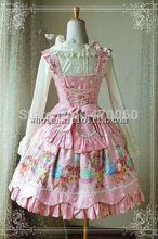 Lovely Bear Printing Cotton Tea Party JSK Sweet Lolita  Peter pan Collar Sleeveless Sky Blue Pink