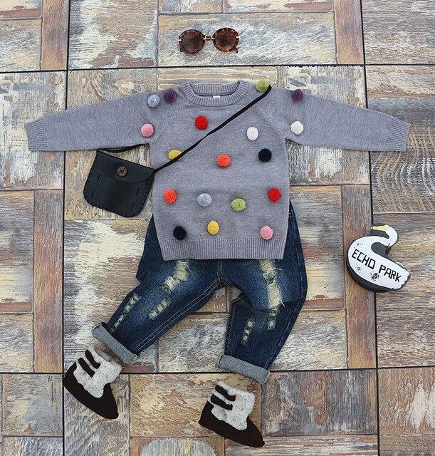 Осень дети свитер цветные шары детские мальчиков, трикотажные свитера девочка кардиган красочный свитер для детей кардиган хлопок девушка