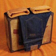 Мужская осень/зима вельветовые джинсы 2017 мужские джинсы мода бизнес случайный утолщение теплые узкие джинсы/размер 28-40