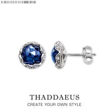 Stud Earrings Dark Blue Lotus,Thomas Style Glam Fashion Good Jewerly For Women,2017 Ts Gift In 925 Sterling Silver,Super Deal(China)
