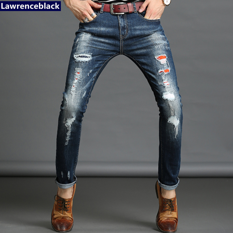 Jeans Men Slim Straight Ripped Jeans Male Hole Jean Pants Casual Denim Trousers High Quality All-Match Long Men'S Biker Jean 54 xmy3dwx n ew blue jeans men straight denim jeans trousers plus size 28 38 high quality cotton brand male leisure jean pants