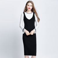 High Quality 2017 Fashion Ladies Brief Elegant Knit Dress Celebrity Party Dresses Women Slim Sleeveless Sweater