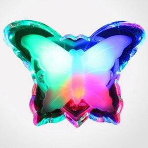 Image 1 - Veilleuse papillon, jolie couleur rvb, ampoule décorative pour chambre de bébé, prise ue, modèle LED