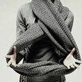 Осень и зима теплая повседневная мужская женщины чистый цвет вязание шерстяной шарф высокое качество новый вязаный шарф