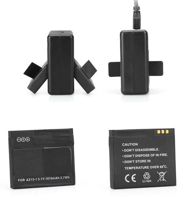Haute qualité xiaomi yi batterie 2 pièces 1010mAh xiaoyi batterie + xiaoyi double chargeur pour xiaomi yi caméra d'action xiaomi yi accessoires