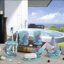 Creative Dolphin Resin Five Pieces Bathroom Set Accessories Wedding House Moving Gift