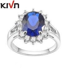 KIVN Fashion Jewelry CZ Blue Stone Womens Girls Bridal Wedding Engagement Simulated Pearl Rings Christmas Birthday Gifts