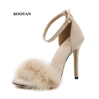 Koovan Women Sandals Fur 2017 New Fashion Plush Fish Mouth High Heels 11cm Sandals 43 Large