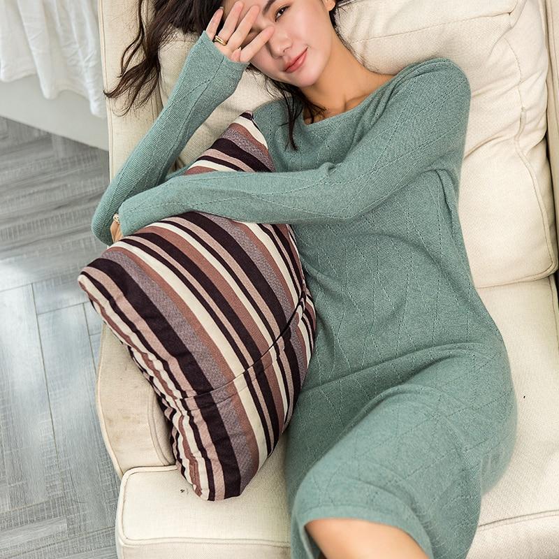 Adohon 2018 suéteres de cachemir de invierno para mujer y Vestidos de punto para mujer-in Vestidos from Ropa de mujer    1