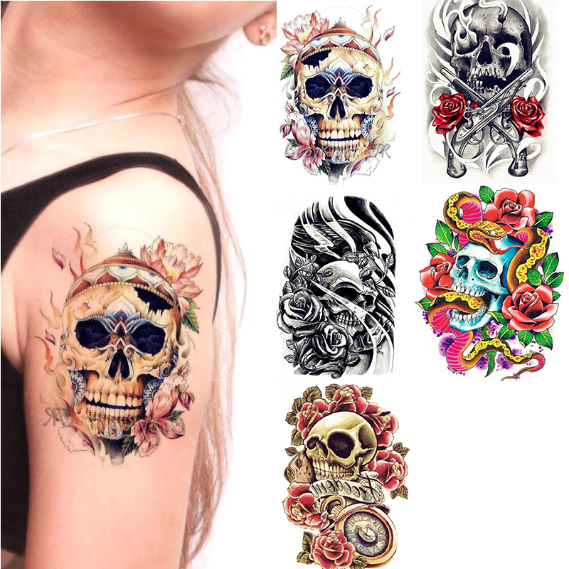 2pcs Skull Flower Tatto Stickers