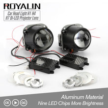 ROYALIN Bi-LED Projector Lens 2.5 3.0 inch Mini Head Light 12V Brightness for H1 H4 H7 Car Styling Hi/Lo Beam Universal Retrofit ronan 70w 2 5inch bi led car projector headlights lens with led beads white retrofit car styling for h4 h7 car headlamp