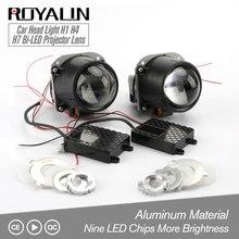 Royalin bi led lente do projetor 2.5 3.0 polegada mini cabeça luz 12 v brilho para h1 h4 h7 estilo do carro hi/lo feixe universal retrofit