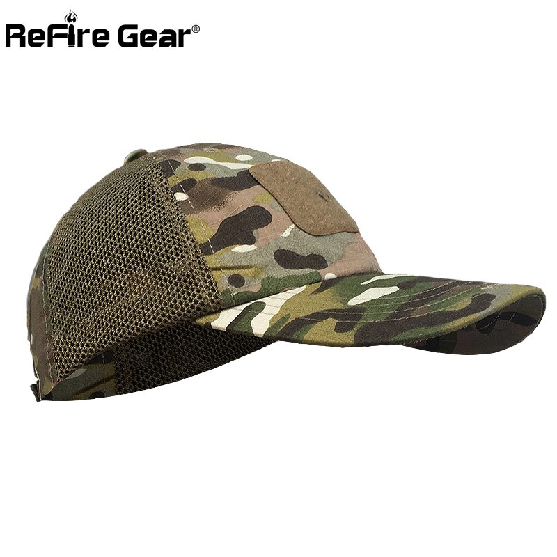 ReFire Gear Tactical Camouflage Mesh Baseball Cap Men Casual Breathable Sun Protection Snapback Combat Army Hat with Mesh Side