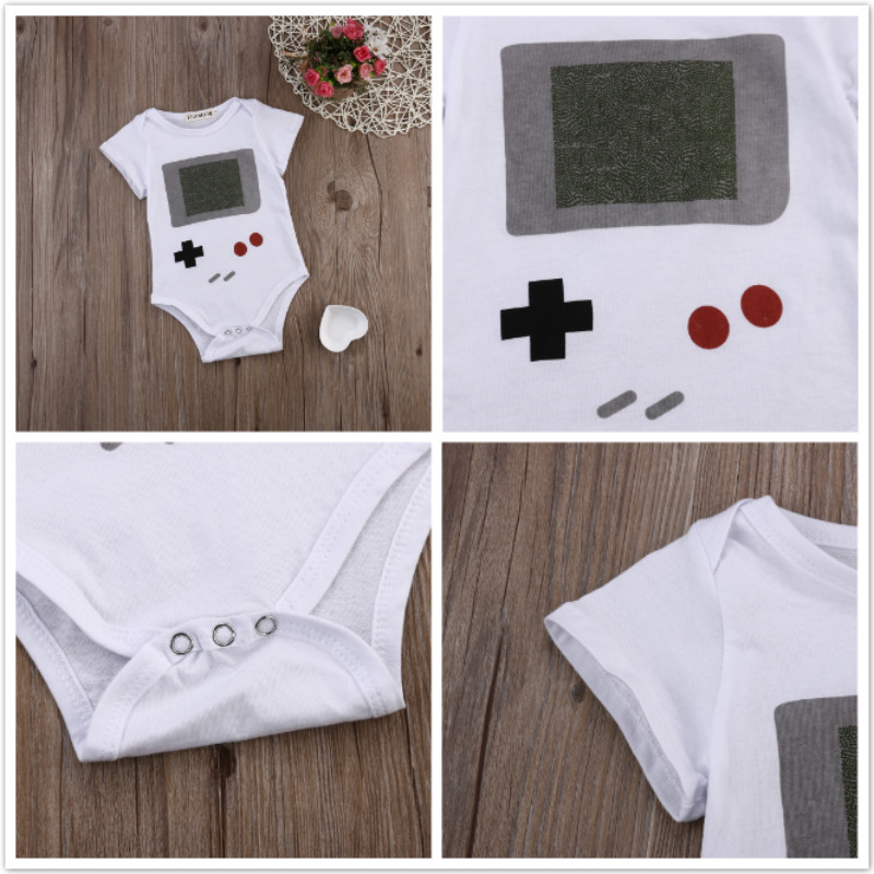 Cute Infant Baby Boys Girl Clothes Cotton Romper Jumpsuit Outfits 0-24M White Baby Romper play game rompers