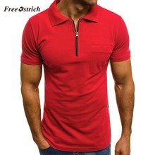 Free Ostrich Men's Polp Shirts With Pocket Zipper Short Sleeve Blouses For Men Breathable Materials Turn-down Collar Shirts(China)