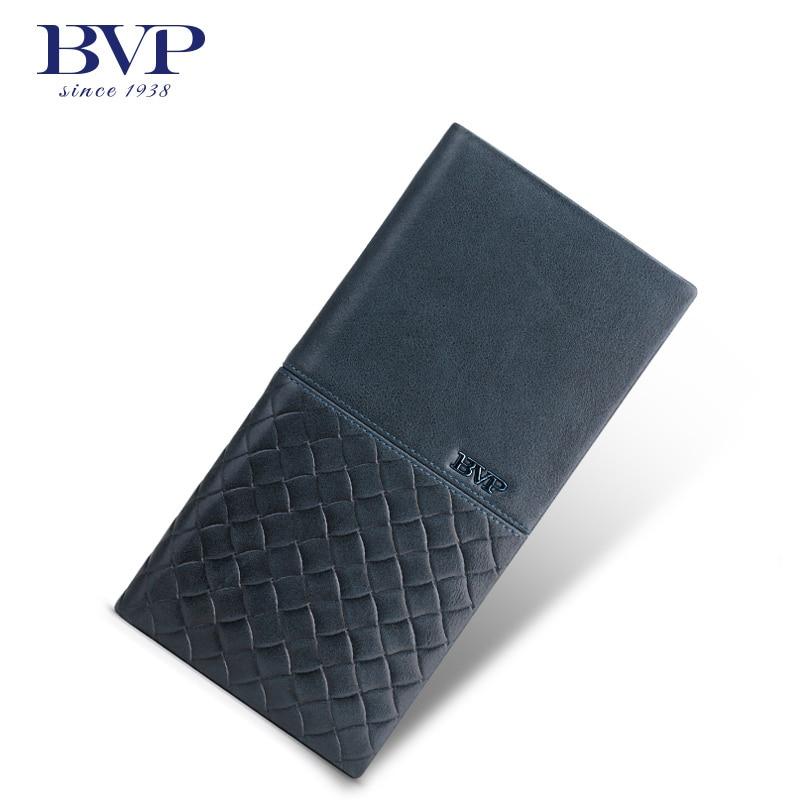 BVP - Luxury Brand (Weave+Plain) Top Grain Cowhide Leather Designer Daily Men Long Wallets Purse Money Organizer J50 bvp luxury brand weave plain top grain cowhide leather designer daily men long wallets purse money organizer j50