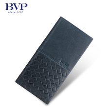 BVP Luxury Brand Weave Plain Top Grain Cowhide Leather Designer Daily Men Long Wallets Purse Money