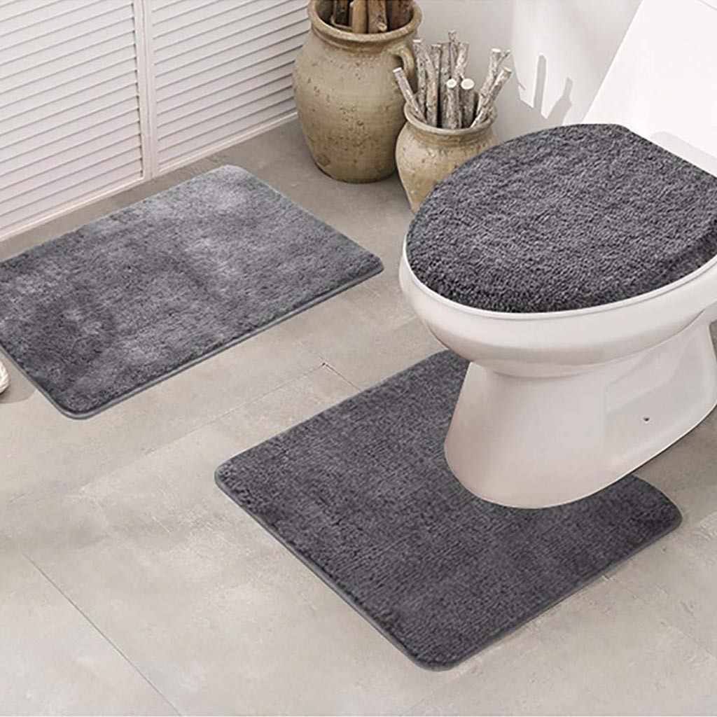 3pcs Toilet Cover Seat Non-Slip Fish Scale Bath Mat Bathroom Kitchen Carpet Doormats Decor Warm Soft Cushion WC Cover M50#