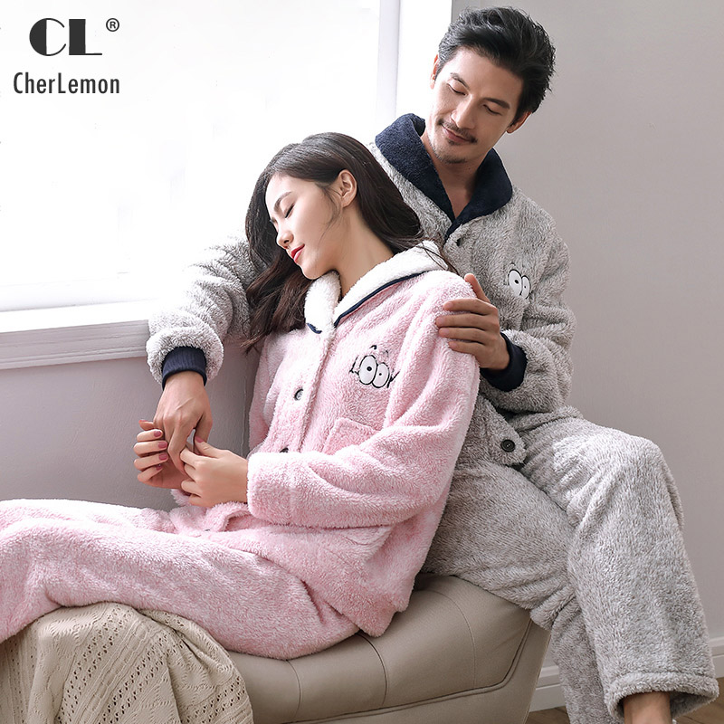 CherLemon Couples Winter Thicken Coral Fleece Soft Warm Plush Loungewear Cute Funny Carton Big Eyes Pajama Set For Men and Women(China)